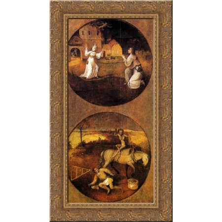 Devils Wood - Mankind Beset by Devils (reverse of Rebel Angels panel) 17x24 Gold Ornate Wood Framed Canvas Art by Bosch, Hieronymus