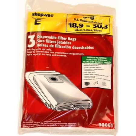 geniune Shop-Vac 90661, 906-61 9066100 Disposable Collection Bag for 5-8 Gallon Vacs 6 bags per (Disposable Vac Bags)