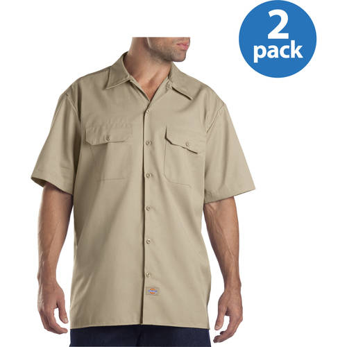 Dickies Big and Tall Mens Short Sleeve Twill Work Shirt, 2 Pack