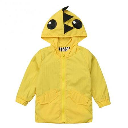 Kids Little Boys Girls Dinosaur Raincoat Jacket Hooded Outwear Fall Winter School Pizex (Girls Hooded Winter Jacket)