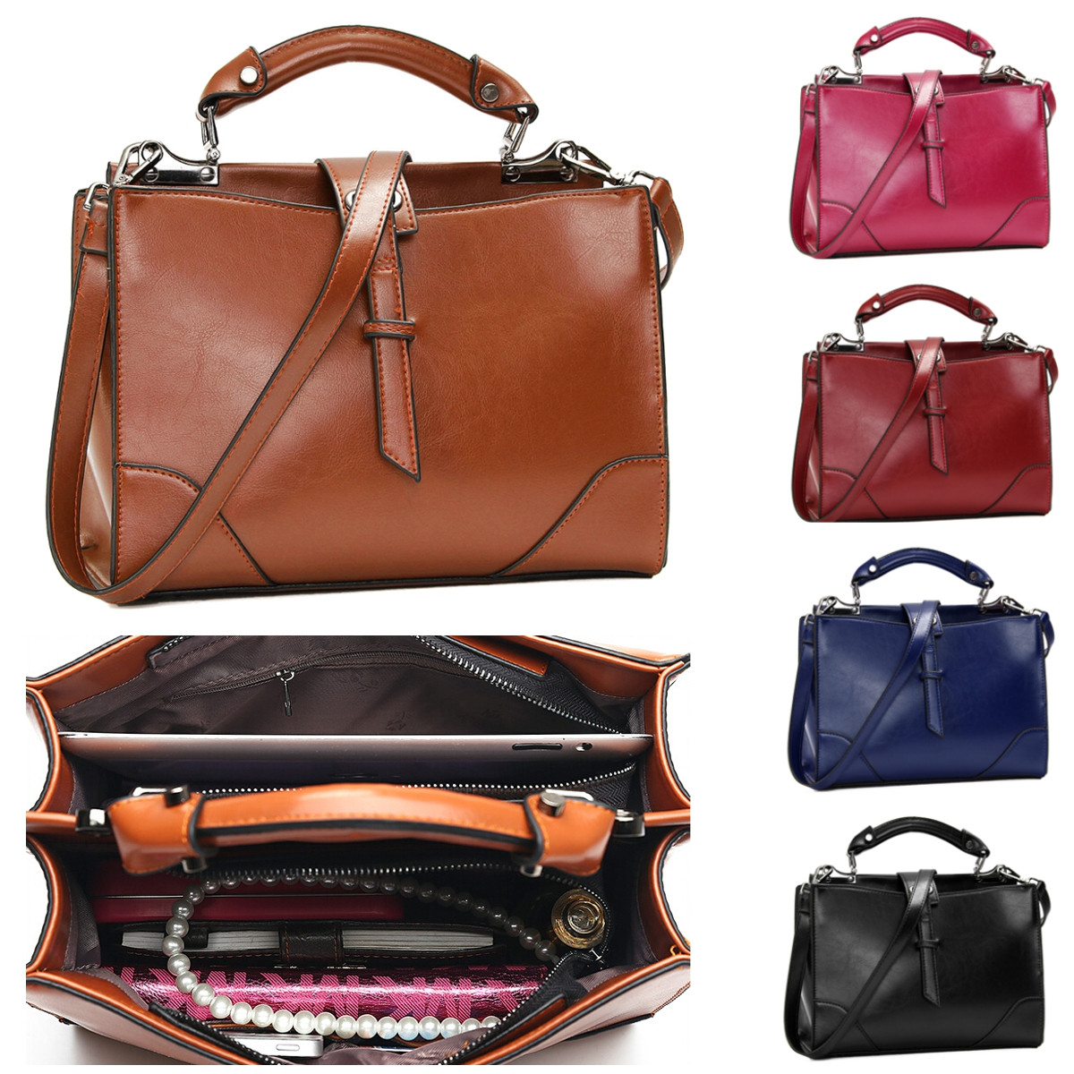 Women Fashion Purses and Handbags Large PU Leather Messenger Shoulder Bag Cross Body