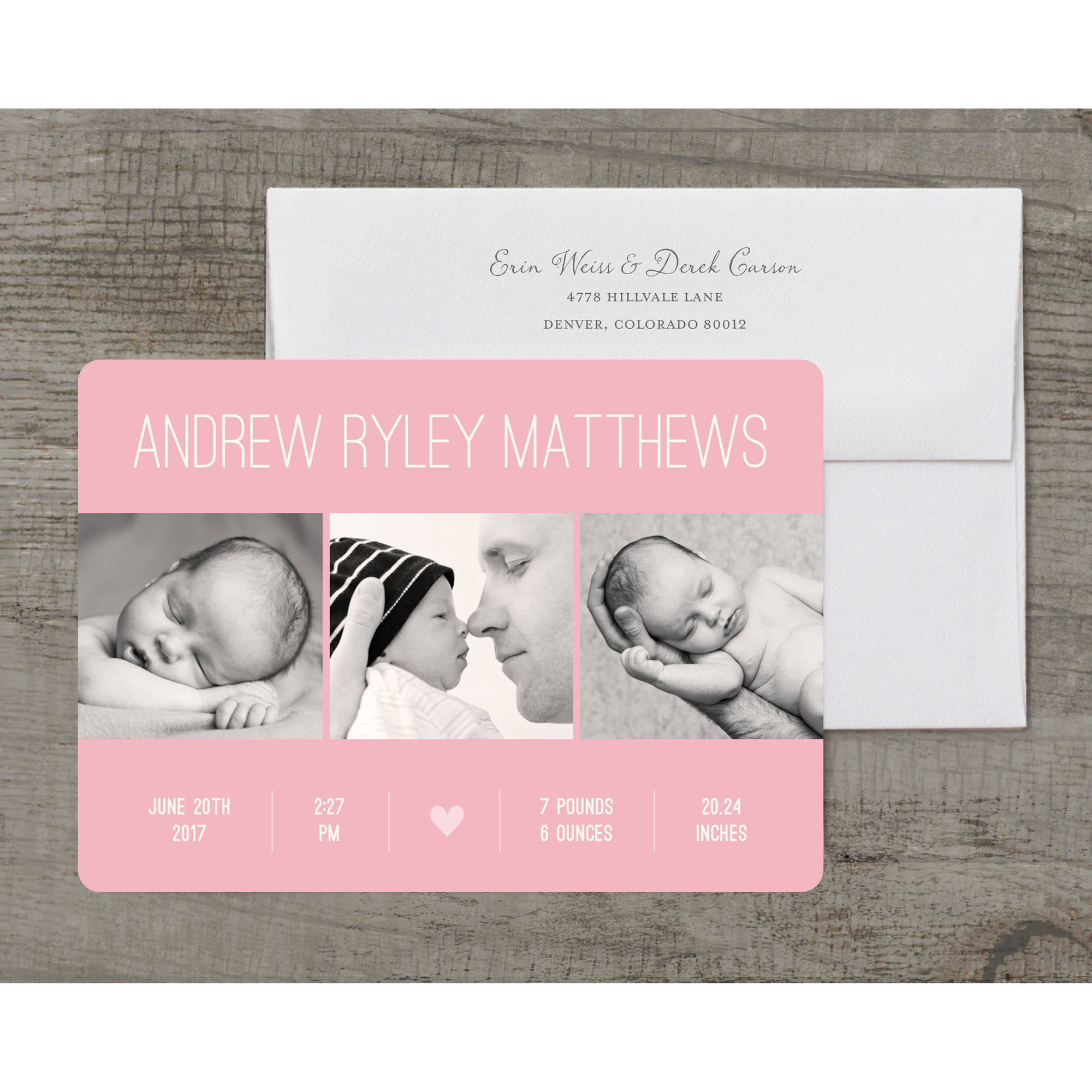 Contemporary Name Deluxe Baby Announcement