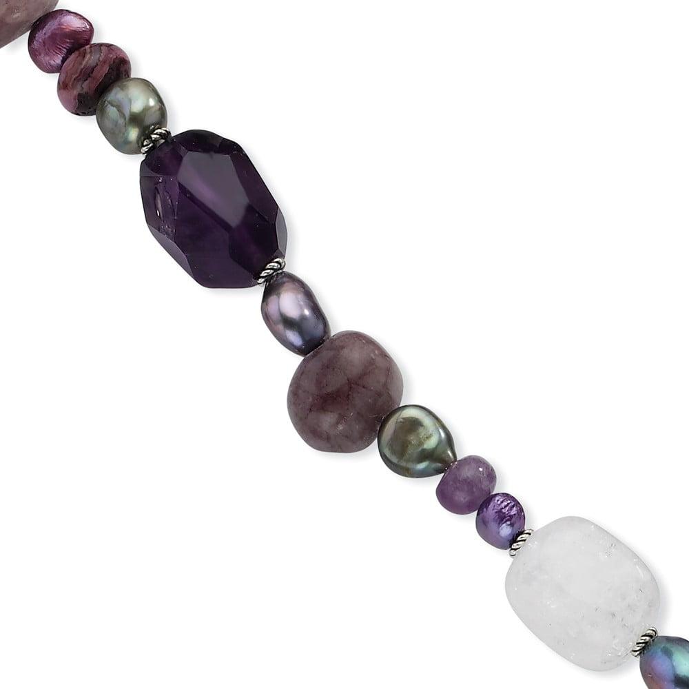 Sterling Silver Amethyst/Jasper/Quartz/Jade/FW Cultured Pearl Bracelet Length 8