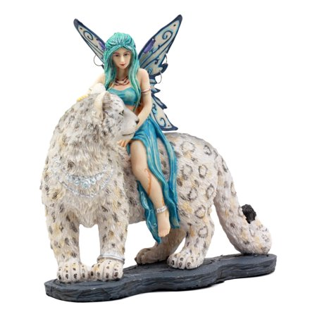 Ebros Large Blue Frost Fairy Riding Snow Leopard Statue Home Decor Mythical Fantasy Sculpture ()