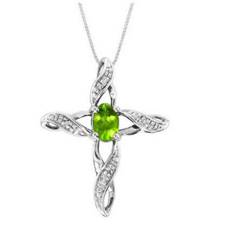 Diamond & Peridot Cross Pendant Necklace Set In White Gold Plated or Yellow Gold Plated Silver