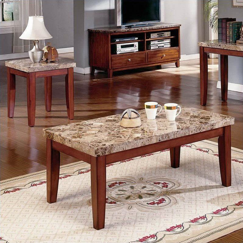 Steve Silver Company Montibello 3 Piece Marble Coffee Table Set In