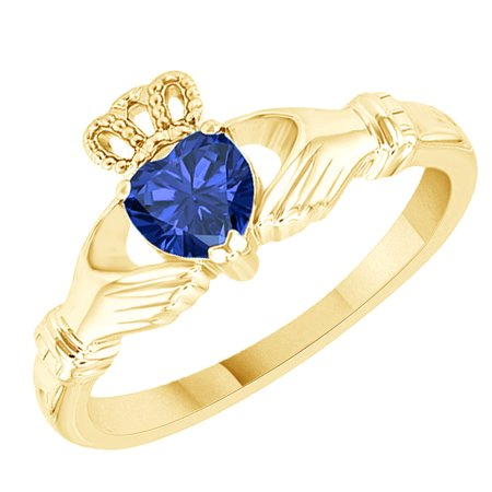 Heart Shape Simulated Blue Sapphire Claddagh Solitaire Ring in 14k Yellow Gold Over Sterling Silver (0.55 Cttw) Size Ring - 4 ()