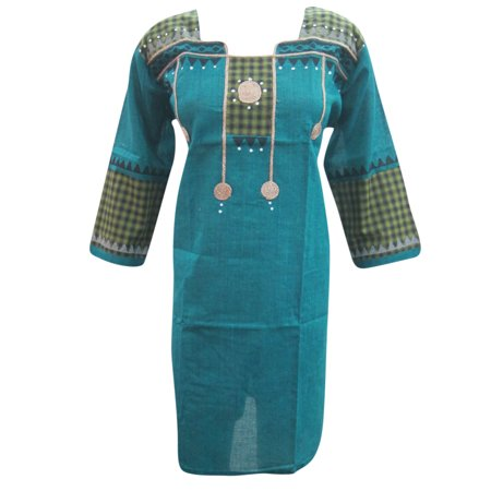 Mogul Ethnic Kurta Tunic Blue Printed Cotton Bohemian Dress Kaftan Indian Fashion Womens Clothing