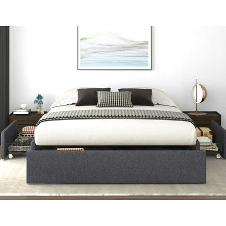 Nextfur Queen Size Platform Bed Frame, Allewie Queen Platform Bed Frame With 4 Drawers Storage
