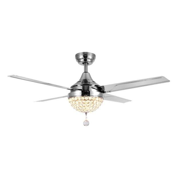Mgaxyff 44 Inch 4 Blades Crystal Ceiling Fan LED Light