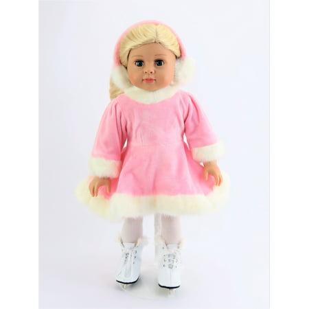 Pink Velvet Ice Skating Dress- Includes Earmuffs & Skates - Fits 18