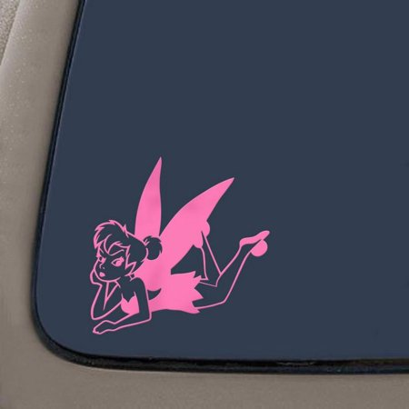 Tinkerbell Laying Cartoons Car Window Wall Laptop Decal Sticker | Pink | 5.5-Inches By 5.4-Inches | Car Truck Van SUV Laptop Macbook Wall (Cartoon Car Decal Window)