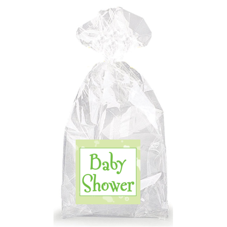 green baby shower party favor bags with ties 12pack