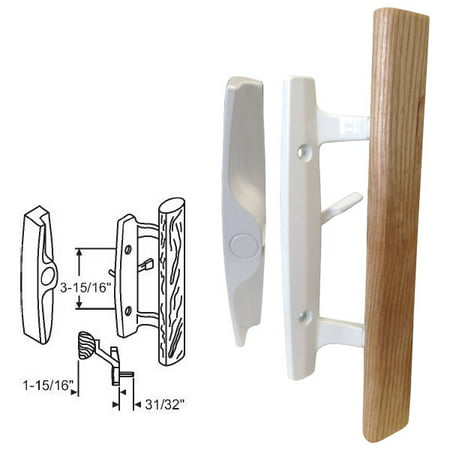STB Sliding Glass Patio Door Handle Set, Mortise Type, Non-Keyed, White, 3-15/16