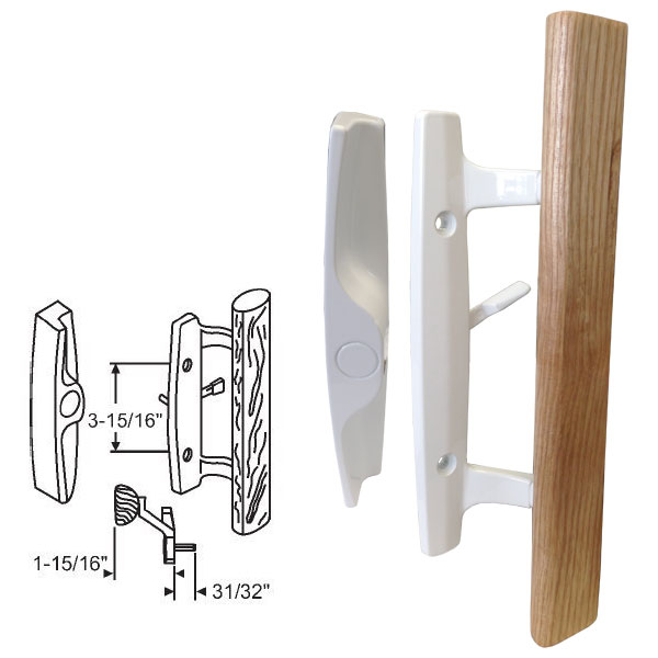 "STB Sliding Glass Patio Door Handle Set, Mortise Type, Non-Keyed, White, 3-15/16"" Screw Holes"