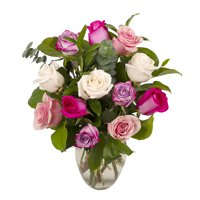 Assorted Pink Roses, One Dozen, Vase Included