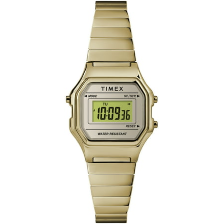 Timex Women's Classic Digital Mini Gold-Tone Watch, Stainless Steel Expansion Band ()