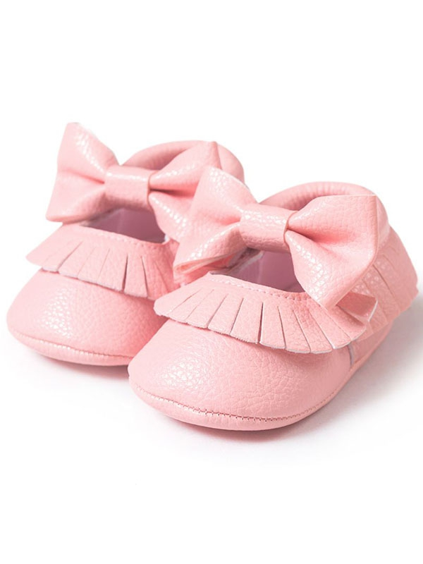 Nicesee Baby Girl Bowknot Tassel Shoes Leather