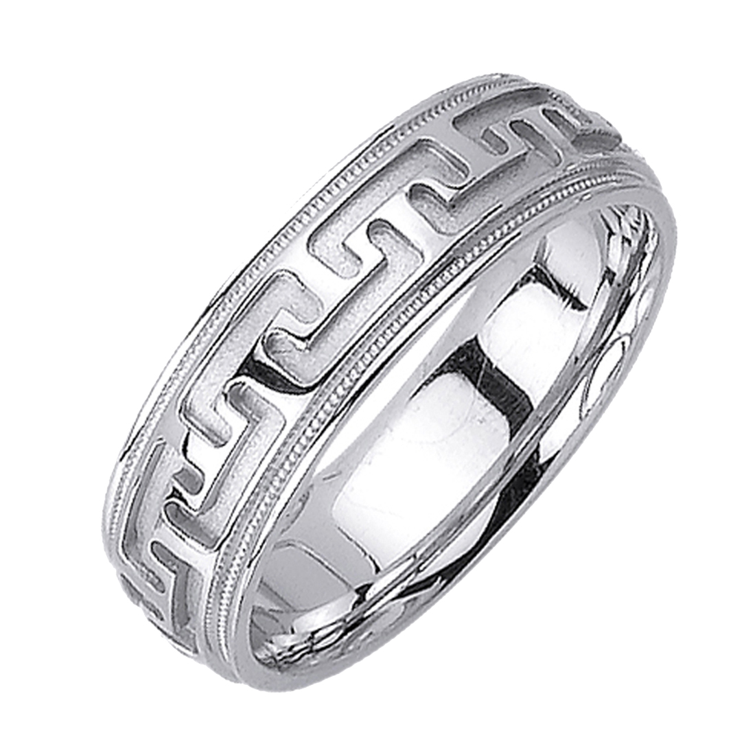 Men Women 14K White Gold 6.5mm Greek Key Pattern Comfort Fit Wedding Band Promise Ring by