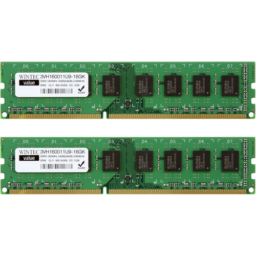 Wintec Value DDR3 1600MHzCL11 16GB (2 x 8GB) UDIMM Kit