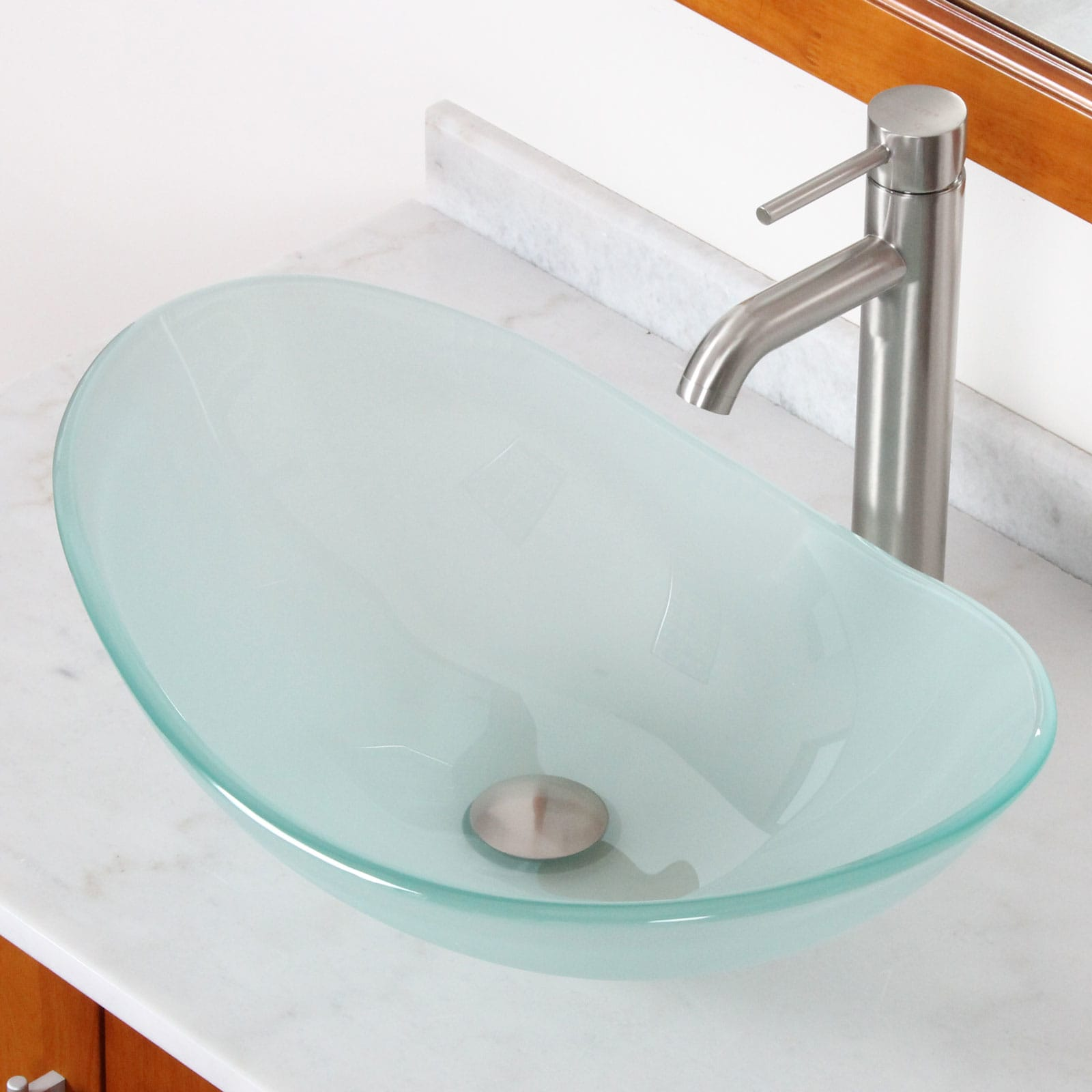 Elite Gd33f371023bn Tempered Bathroom Gl Vessel Sink W Unique Oval Shape With Faucet Combo