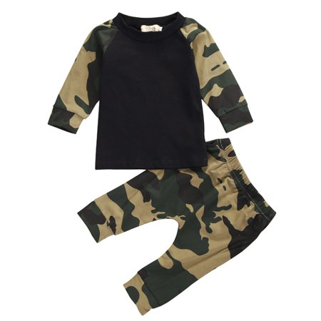 Camouflage Newborn Baby Boys Kids Casual T-shirt Tops + Pants Outfit Clothes -