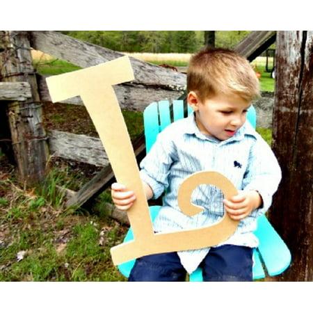 Wooden Curlz Letter L, 12'' Unfinished Wall Letter, Craft DIY Paintable
