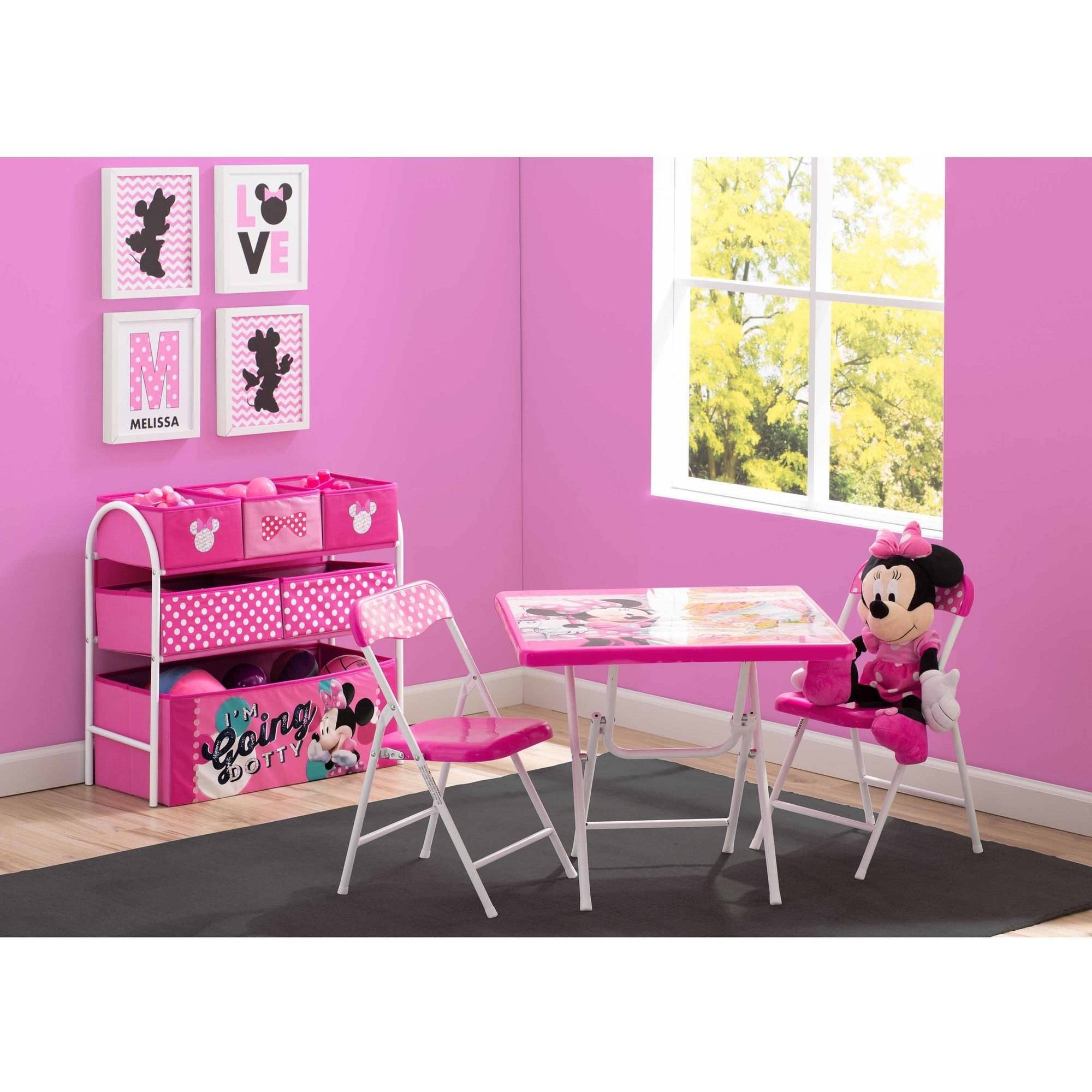 Disney Minnie Mouse Playroom Solution Furniture Table Chairs Toy Organizer  NEW!