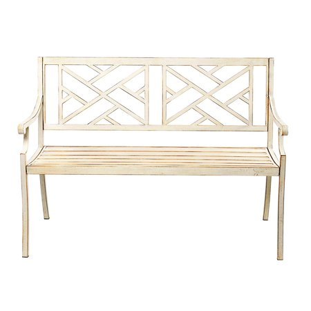 Pleasant 48 Patio Garden Bench Park Yard Outdoor Furniture Steel Frame Porch Chair Seat Gmtry Best Dining Table And Chair Ideas Images Gmtryco