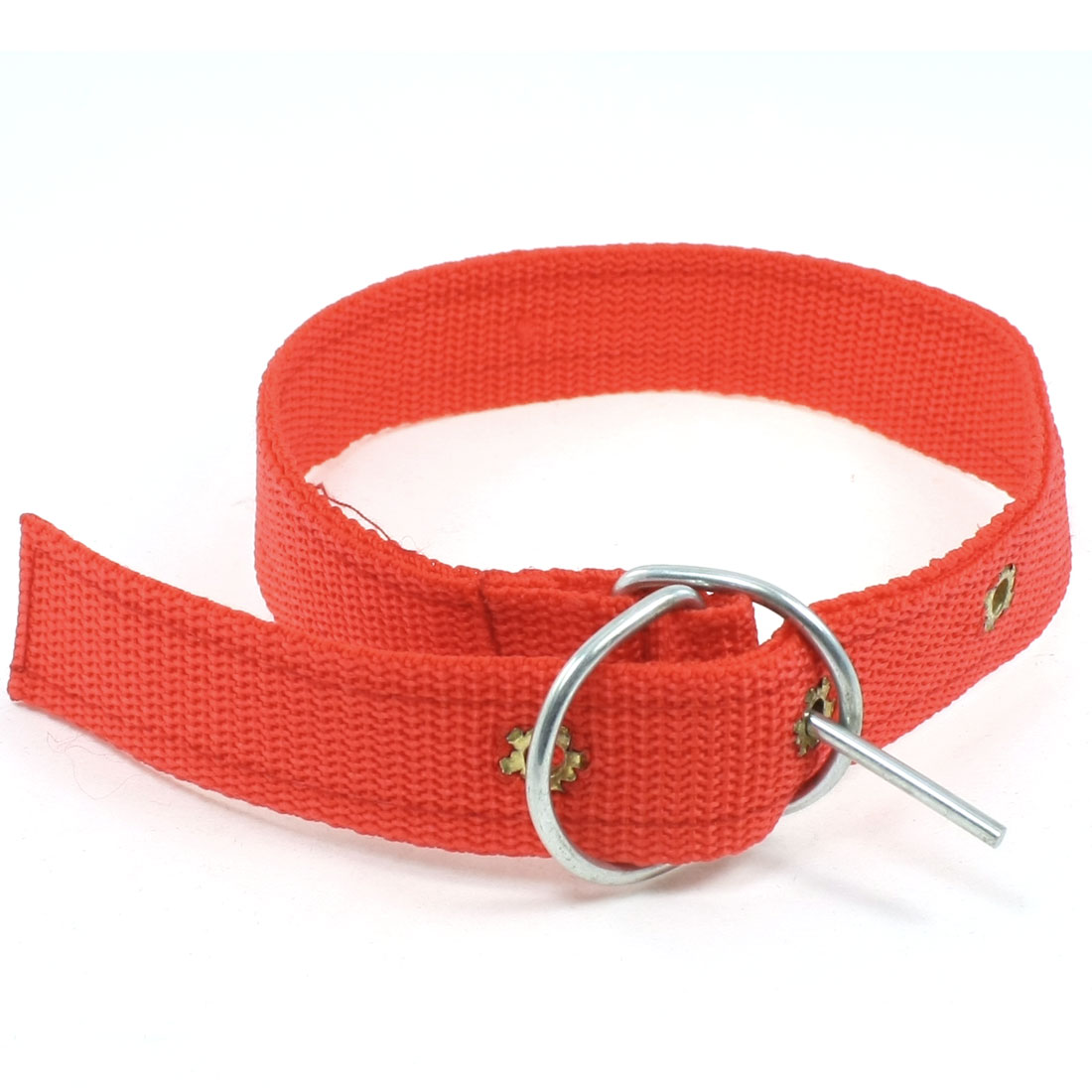 Single Prong Buckle 3 Holes Design Detail Red Adjustable Dog Pets Collar Rope