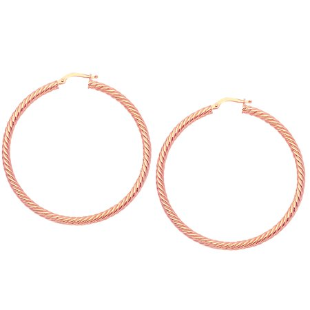 4ed6a5d995a26 14k Rose Gold Twisted Hoop Earrings, Diameter 50 mm