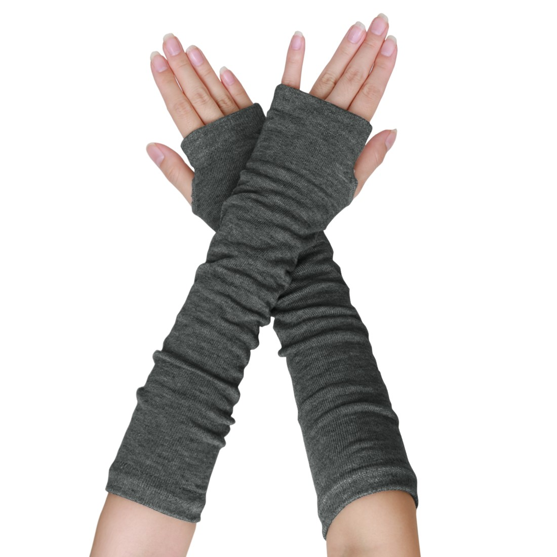 Unique Bargains Women's Elbow Length Thumbhole Arm Warmer Fingerless Gloves Pair Gray