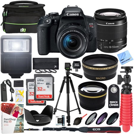 Canon T7i EOS Rebel DSLR Camera with EF-S 18-55mm IS STM Lens and Two (2) 32GB SDHC Memory Cards Plus 58mm Wide Angle & Telephoto Lens Tripod Cleaning Kit Accessory