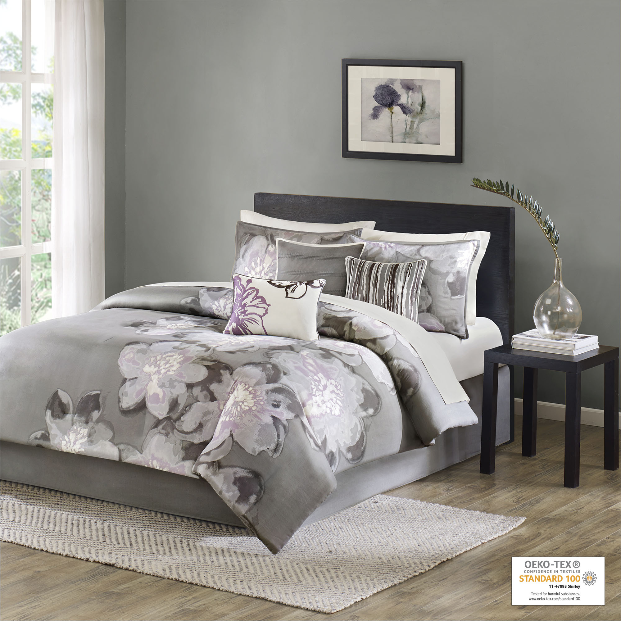 Jasmin Floral Aqua Gray Comforter Reversible Sheet Set New Girls Home Bedding