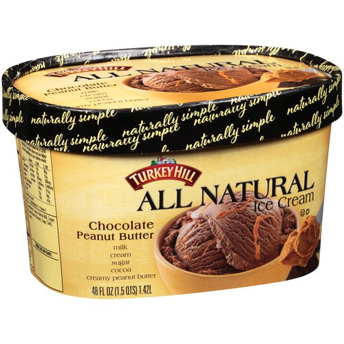 Turkey Hill Chocolate Peanut Butter All Natural Ice Cream, 48 fl oz