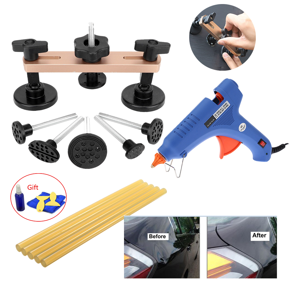 Auto Body Paintless Dent Removal Tools Kit Bridge Dent Puller Kits with Hot Melt Glue Gun PDR Tools by