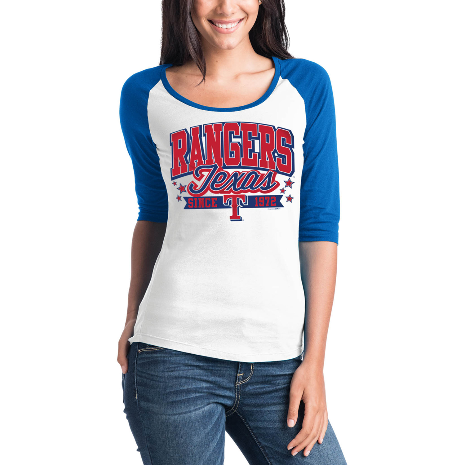 Texas Rangers 5th & Ocean by New Era Women's Team Banner 3/4-Sleeve Raglan T-Shirt - White/Royal