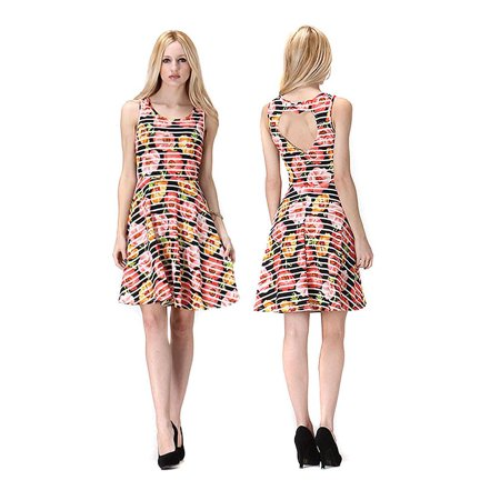 Colorful Floral Heart Cut Out Back Detail Fit & Flare Dress - Medium / Ivory ()