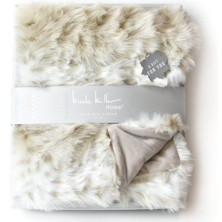 Nicole Miller Mink Faux Fur Throw, Luxury Plush Blanket in Brown Taupe or Silver Gray (Beige) Beige Nicole Miller Bras