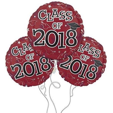Set of 3 CLASS OF 2018 Burgundy Graduation Party Balloons Decoration Supplies