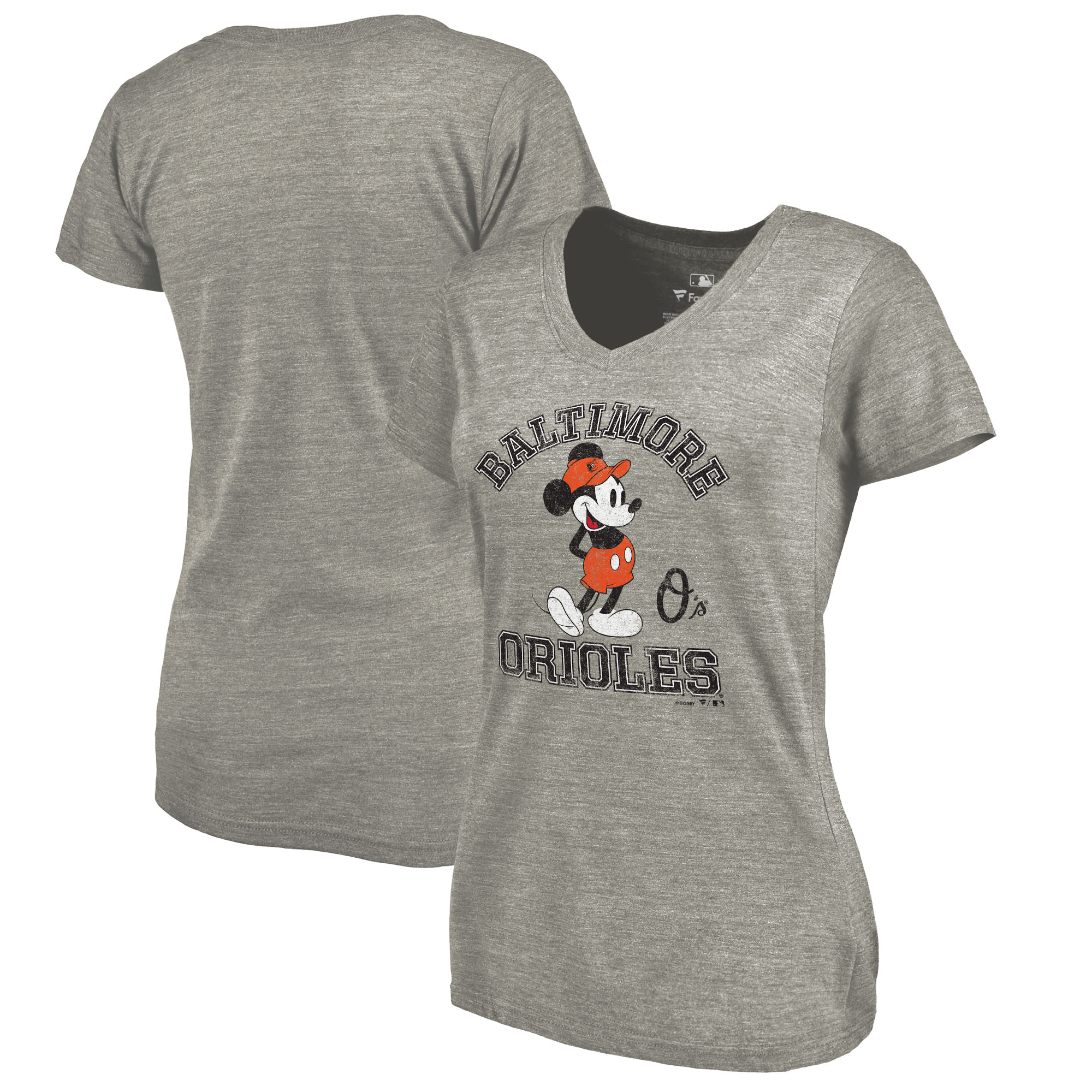 Baltimore Orioles Fanatics Branded Women's Disney MLB Tradition Tri-Blend V-Neck T-Shirt - Heathered Gray