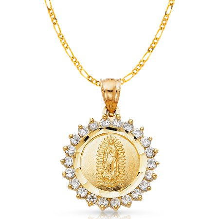 14K Yellow Gold Cubic Zirconia CZ Our Lady of Guadalupe Charm Pendant with 3.1mm Figaro 3+1 Chain Necklace - 20""