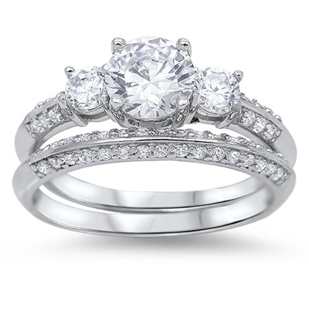 Mistral Set Ring - Engagement Set Clear CZ Promise Ring ( Sizes 4 5 6 7 8 9 10 11 ) New .925 Sterling Silver Band Rings (Size 4)