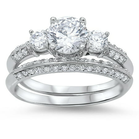Engagement Set Clear CZ Promise Ring ( Sizes 4 5 6 7 8 9 10 11 ) New .925 Sterling Silver Band Rings (Size 4) ()