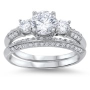 Engagement Set Clear CZ Promise Ring ( Sizes 4 5 6 7 8 9 10 11 ) New .925 Sterling Silver Band Rings by Sac Silver (Size 4)