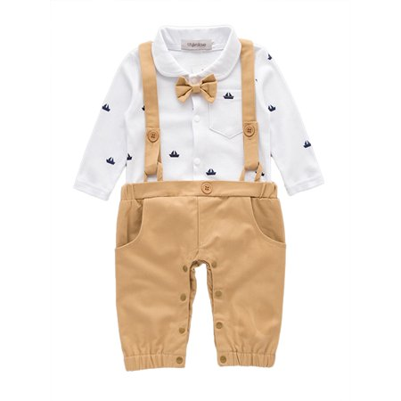 StylesILove Sailor Boat Print Faux Suspender Formal Wear Baby Boy Romper (6-12 Months, Khaki) ()