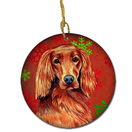 Irish Setter Red Snowflake Holiday Christmas Ceramic (Irish Red And White Setter For Sale)