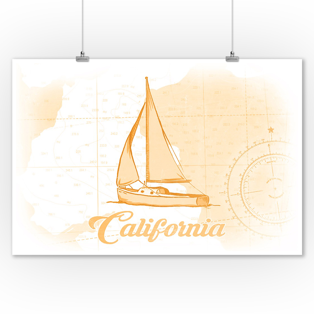 California - Sailboat - Yellow - Coastal Icon - Lantern Press Artwork (9x12 Art Print, Wall Decor Travel Poster)