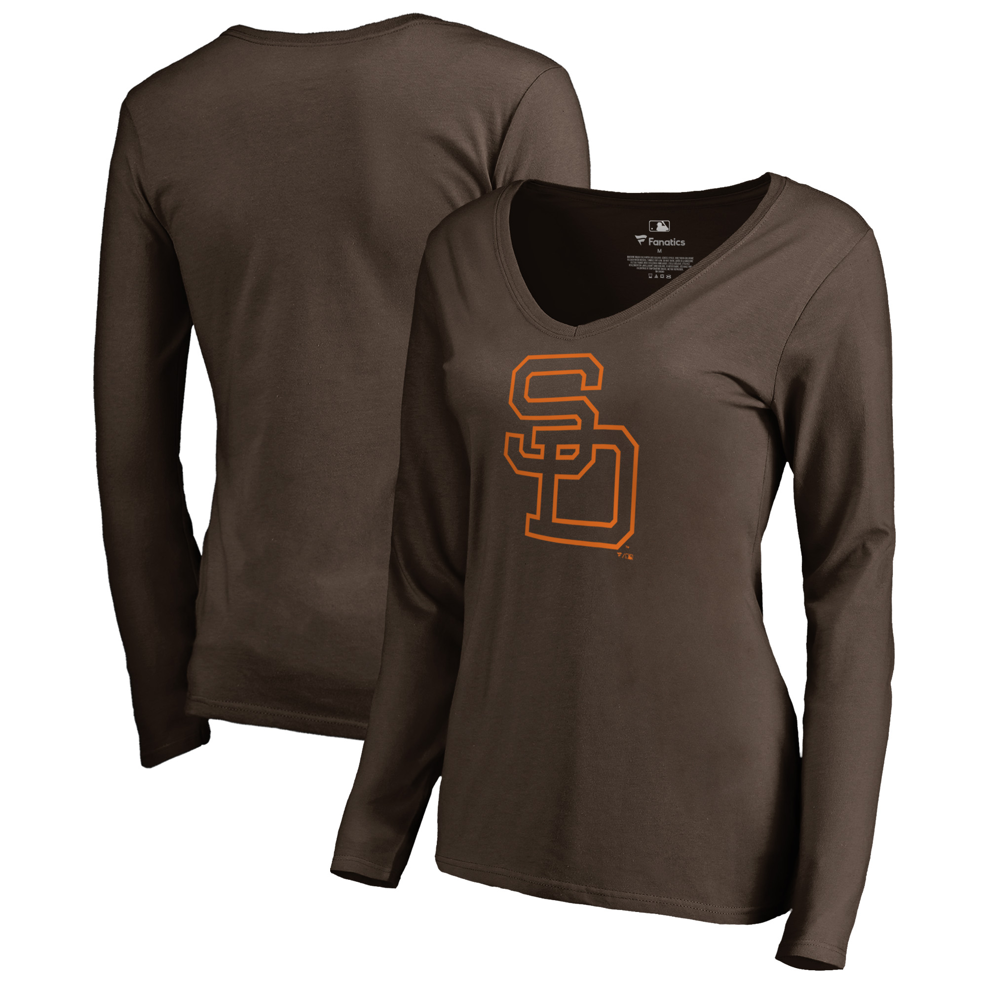 Fanatics Branded Women's Cooperstown Collection Huntington Long Sleeve V-Neck T-Shirt - Brown