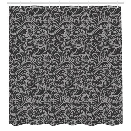 Black And Grey Shower Curtain Pattern With Fern Leaves Big Flowers Abstract Scroll Garden Art